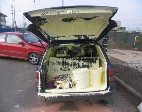 En dan zit je auto onder de verf